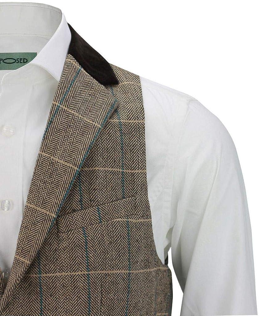 Xposed Mens Velvet Collar Grey Brown Herringbone Tweed Check Slim Fit Vintage Waistcoat