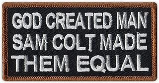 Motorcycle Biker Jacket/Vest Embroidered Patch - God Created Man, Sam Colt Made Them Equal - 2nd Amendment