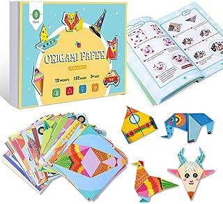 Opret - Kit de papel para origami, papiroflexia. Incluye 152 papeles de 14 x 14 cm, 72 diseños, libro y 72 vídeos explicat...
