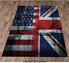 Non-Slip Super Soft Rugs Cozy Kids Bedroom Living Room Carpet 40x63in,Alliance Togetherness Theme Composition of UK and USA Flags Vintage Decorative,Navy Blue Red White Indoor/Outdoor Area Runners &