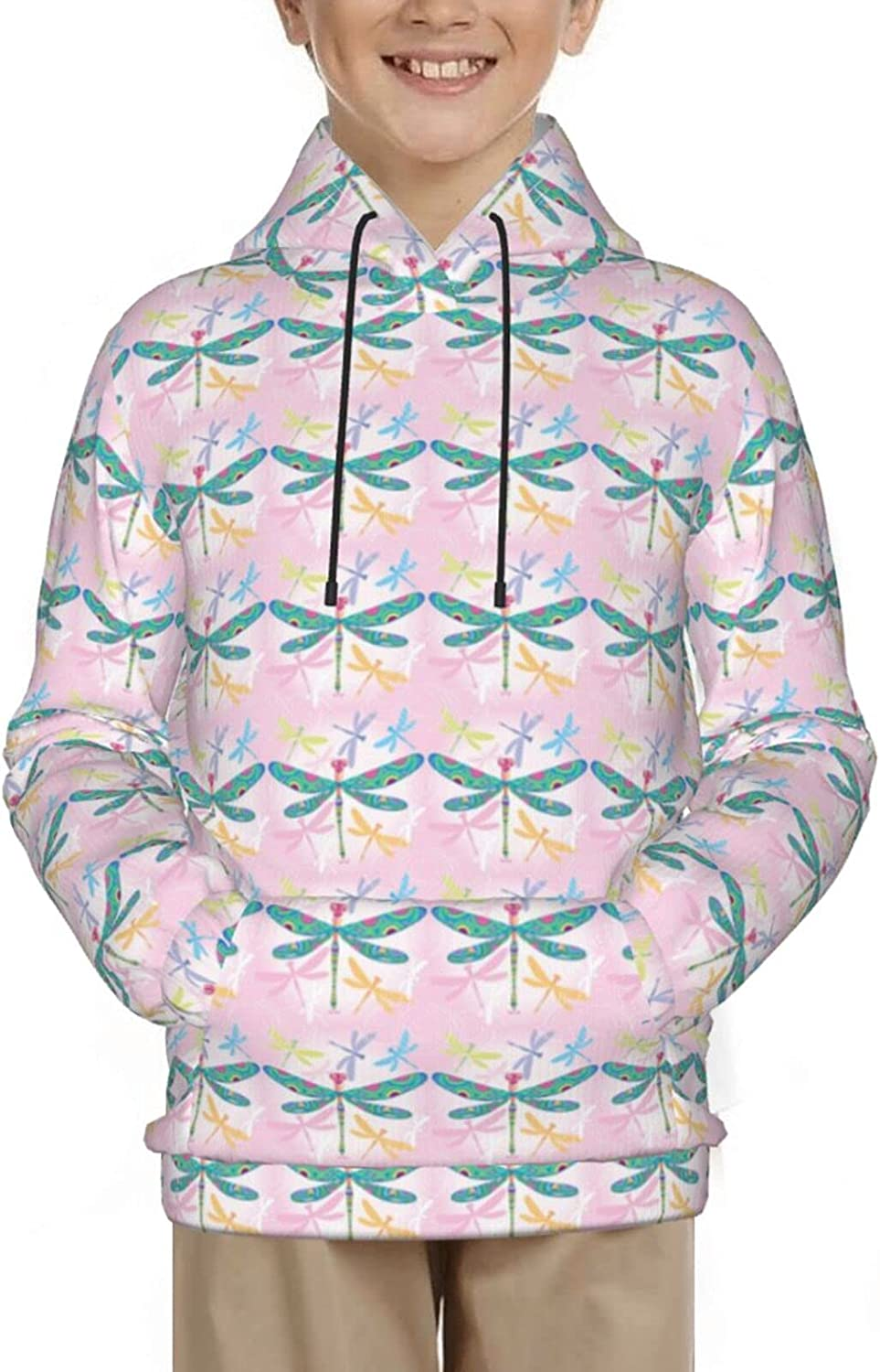 Floral Dragonfly Insects Chic Animal Pink Pullover Hoodie Funny