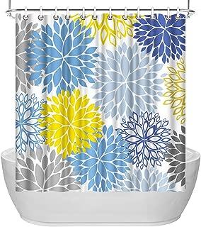 ArtBones Dahlia Flower Bathroom Shower Curtain Waterproof Polyester Fabric Bath Curtain Set Blue Grey Yellow 72x72 inches