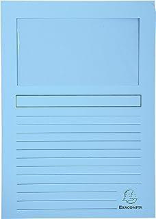 Exacompta - Réf. 50152E - Paquet de 100 chemises à fenêtre SUPER 160g/m2 - dimensions 22x31cm - couleur Bleu clair