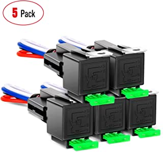 Nilight 50023R 5 Pack 30A Fuse Relay car Truck Socket kit-30A Switch Harness Set-12V DC 4-Pin SPST Automotive 14 AWG Hot W...