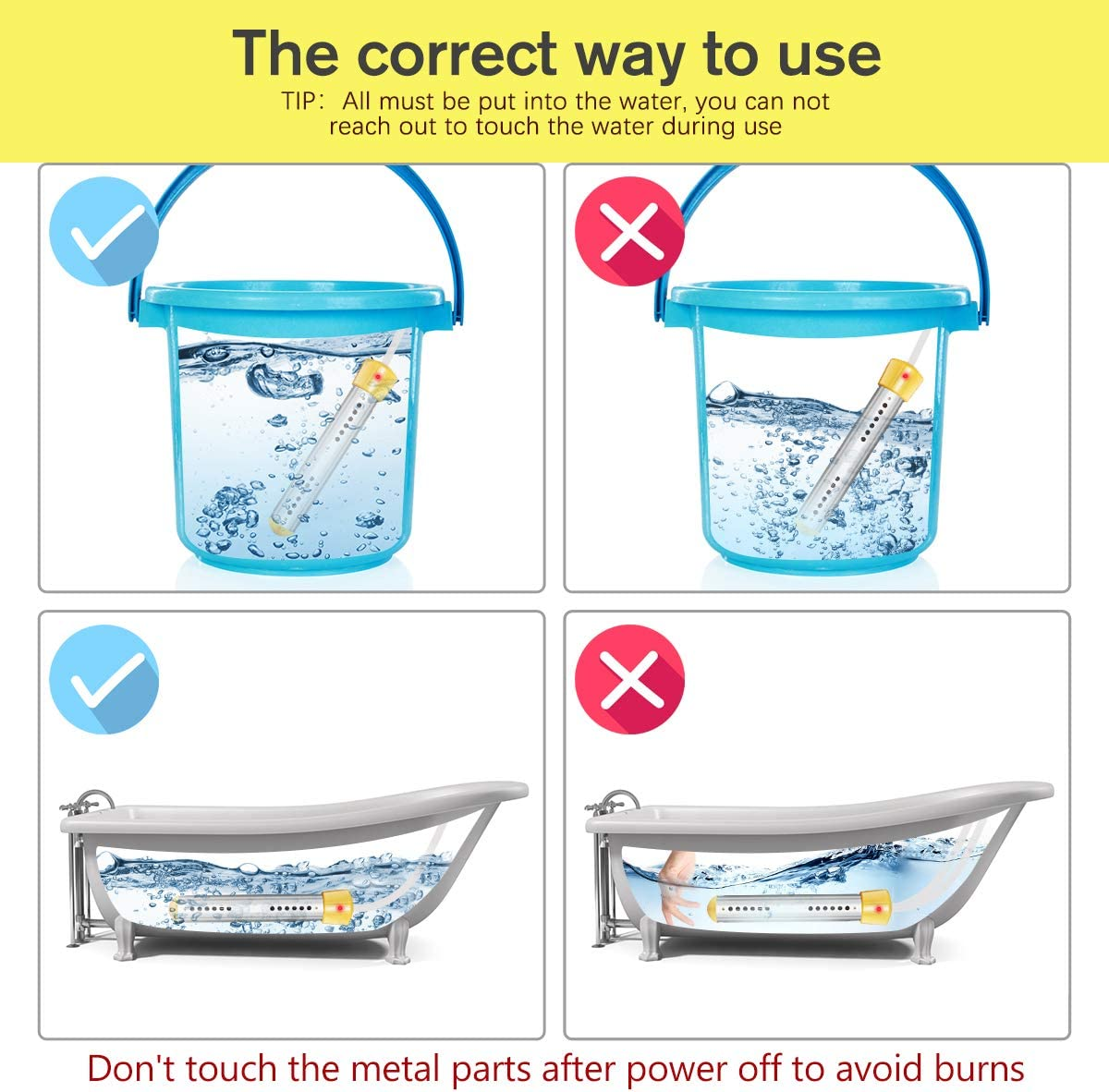 Electric Submersible Instant Water Heater with Metal Guard Cover Portable Bucket Heater to Heat 5 Gallons of Water in Minutes for Bathtub,Inflatable Pool,Fully Immersed While Using Immersion Heater