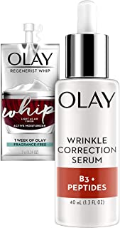 Olay Collagen Peptides Wrinkle Correction Serum with Vitamin B3 1.3 Oz + Whip Face Moisturizer TravelTrial Size Gift Set, unscented, 1 Count
