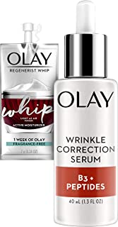 Olay Serum, Wrinkle Correction with Vitamin B3+ & Collagen Peptides, 1.3 Fl Oz, + 1 Week of Whip Face Moisturizer Travel/Trial size