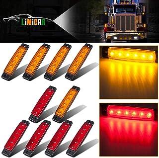 LIMICAR 10PCS 6LED Side Marker Indicators Light Lamp Marker Light 5 Amber 5 Red Clearence Truck Bus Trailer Side Marker Light Rear Light Indicator Light Turn Signal Light