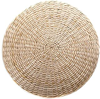 yuanchuang Seat Cushion Grass Cushion Mat Dining Room 40 * 6cm Outdoor Round Pad Beige Seat Cushion Garden Straw Weave Chair Seat