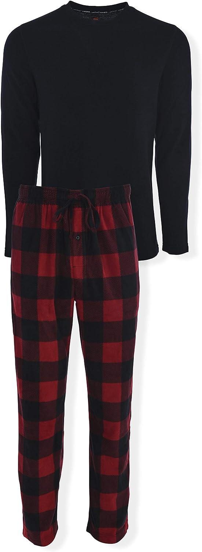 Hanes Men's Tagless Two-Piece Micro-Fleece Pajama Set