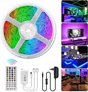 COOLAPA LED Strip Lights, Impermeable IP65, Color Changing Rope Lights 32.8ft(10m) SMD 5050 RGB Light Strips with Bluetooth Controller Sync to Music Apply for TV, Habitación, Bar, Cocina