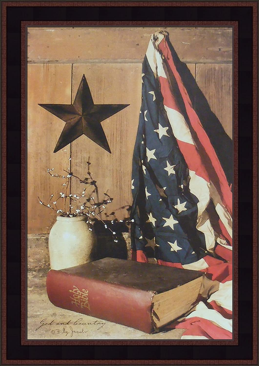 Home Cabin Décor God and Country by Billy Jacobs 15x21 Americana American Flag Bible Star Crock Primitive Folk Art Framed Print Picture