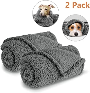 AIPERRO 2 Pack Premium Fluffy Fleece Dog Blanket, Soft and Warm Gray Pet ThrowBlankets Bed Couch Car Seat Cover Washable for Puppies and Cats
