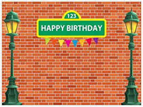 Allenjoy 8x6ft Cartoon Brick Wall Street Backdrop Party Supplies High Lamp Post Photography Background for 1st First Girl Boy Baby Shower Birthday Events Decorations Cake Smash Photoshoot Props Favors
