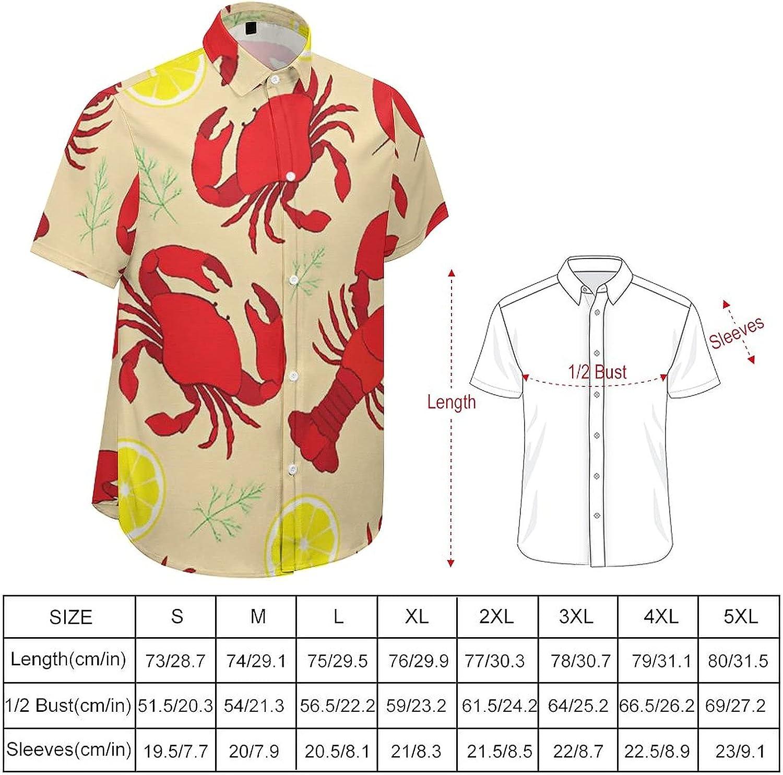 Mens Button Down Shirt Red Lobster Yellow Lemon Casual Summer Beach Shirts Tops