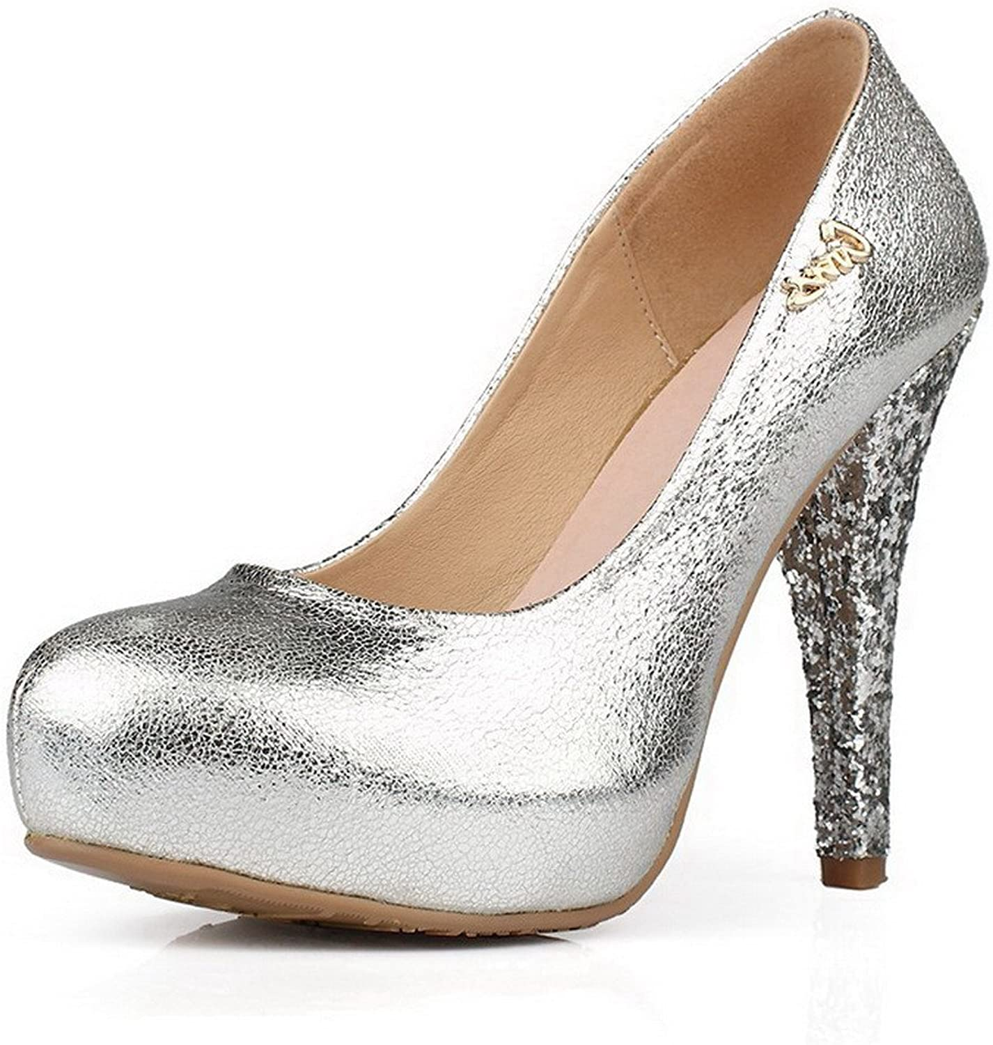 WeenFashion Women's Close Round Toe Solid Stiletto Heels Squines Pumps shoes with Metal Ornament,
