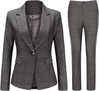 Women's Vintage 2 Piece Plaid Suit Set One Button Stylish Blazer and Pants