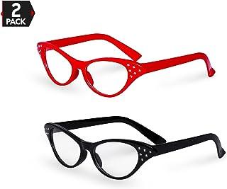 Big Mo`s Toys Red / Black Cat Eye Retro Costume Dress Up Hip Hop Rhinestone Glasses (2 Pack)