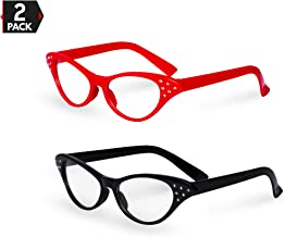 Big Mo's Toys Red / Black Cat Eye Retro Costume Dress Up Hip Hop Rhinestone Glasses (2 Pack)