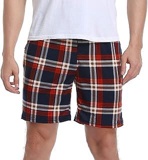 Vlazom Mens Pajama Bottoms Comfy Lounge Plaid Shorts, Soft Sleep Pj's Pants with Pockets & Drawstring