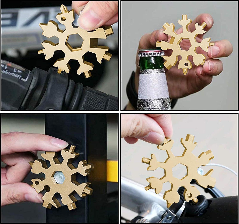 Xingsky Outil Multifonction Flocon de Neige 18 en 1 Dor Porte-cl/és ouvre-bouteille en acier inoxydable,Idee Cadeau Homme