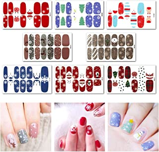 Udyr Christmas Nail Decals Tip Nail Art Stickers Self-adhesive Nail Decoration for Manicure DIY or Nail Salon 8 Sheet (Red-Christmas)