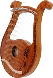 Lyre Harp, 19 Metal Strings Cute Deer Head Shape Lyre with Tuning Hammer Playing Warm Sound, Mahogany Portable Musical Ins...