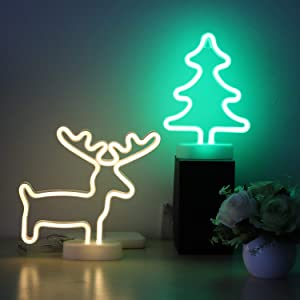 Christmas Neon Sign 2 Packs Reindeer and Xmas Tree Green Neon Wall Décor Lights USB and Battery Powered Neon Lights for Bedroom Girls Kids Christmas Gifts Home Decoration for Xmas (CMT-DER)