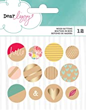 American Crafts 12 Piece Dear Lizzy Documents Gold Foil Wood Buttons