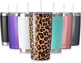 Best CIVAGO 20oz Insulated Stainless Steel Tumbler, Coffee Tumbler with Lid and Straw, Double Wall Vacuum Travel Coffee Mug, Powder Coated Tumbler Cup (Leopard, 1 Pack) Review