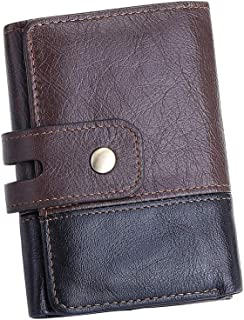 BestFire Trifold Wallets for Men Leather, Rfid Mens Leather Wallet Front Pocket Blocking Metal Button Coin Pocket, Vintage...
