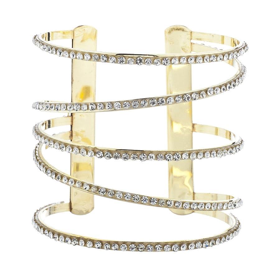 Lux Accessories Goldtone Pave Rhinestone Cutout Spiral Open End Cuff Bracelet