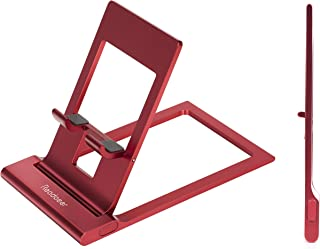 Reodoeer 超薄型 折り畳み式 スマホスタンド アルミ製 タブレットスタンド 携帯電話スタンド 自由に角度調整可能 (バラレッド)