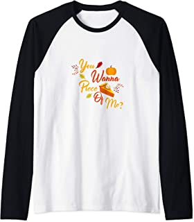 Cute You Wanna Piece of Me Thanksgiving Pie Raglan Baseball Tee