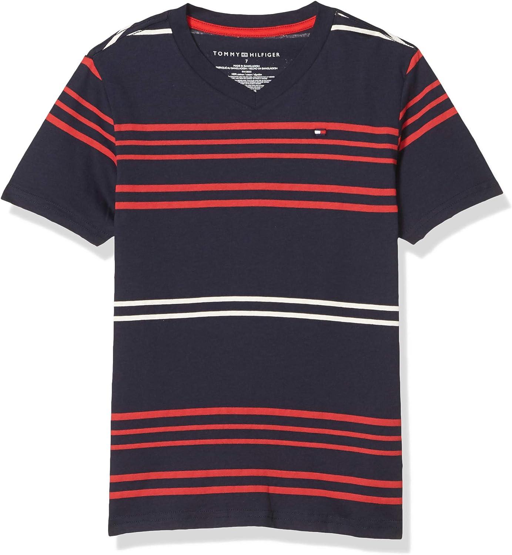Tommy Hilfiger Boys' Spasm price Short Save money V-Neck Striped Sleeve T-Shirt