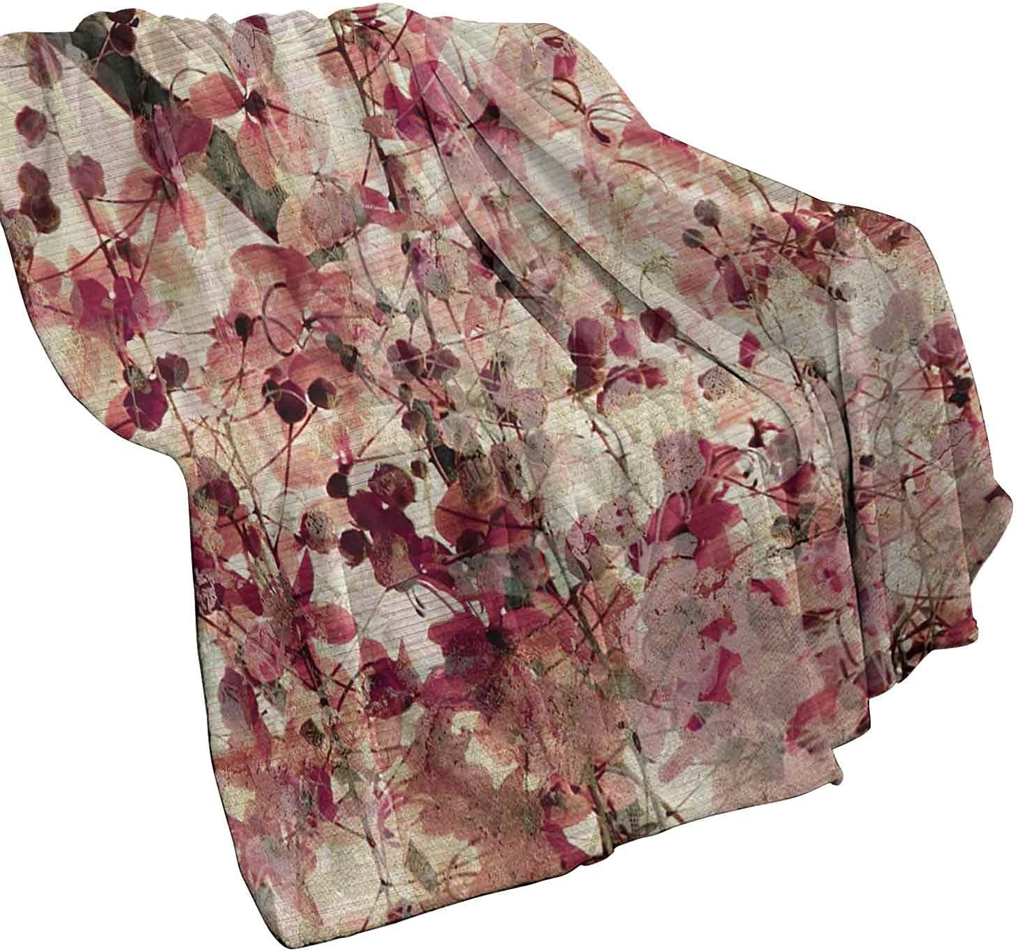 famous Max 87% OFF Antique Commercial Grade Printed Blanket Effect B Cherry Grungy