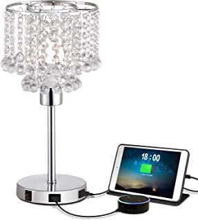 USB Crystal Bedside Table Lamp with Dual USB Charging Port, Acaxin Crystal Nightstand Lamp with Elegant Silver Crystal Shade, Crystal Desk Lamp for Bedrooms/Living Room/Dining Room/Kitchen