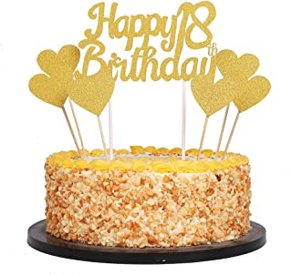 QIYNAO Gold Glittery Happy Birthday Cake Toppers and Love Star Cake Smash Birthday Party Decorations, Candle Alternative Set of 7 (18th)