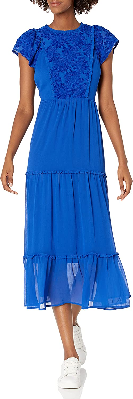 kensie Women's Crinkle Chiffon Maxi Dress