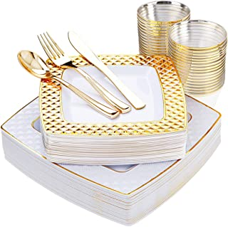 NERVURE 150 PCS Gold Square Plates with Disposable Plastic Silverware, Elegant Tableware Set Includes 25 9.5'' Dinner Plates+25 7.6'' Dessert Plates+25 Forks+25 Spoons+25 Knives +25 9oz Cups in Gold