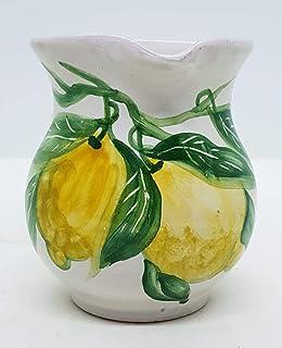 Brocca Linea Limoni Ceramica H 11 x 11 cm Realizzato e Dipinto a Mano Le Ceramiche del Castello Made in Italy