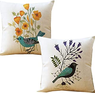 Unibedding Outdoor Decorative Throw Pillow Covers Case Birds Décor Vintage Spring Cushion Cotton Linen 18x18 Set of 2 Patio Couch Sofa