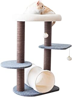 PetPals Cat Tree Cat Tower for Activity with Tunnel and Toy Ball, Gray, 18-inch L * 15-inch W * 29-in H