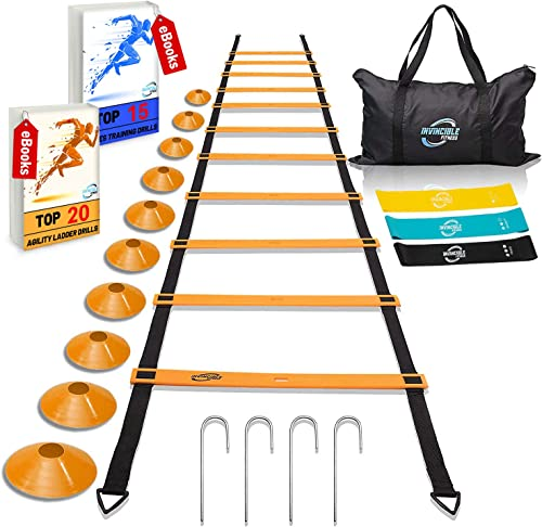 Invincible Fitness Agility Ladder Training Equipment Set, Improves Coordination, Speed, Power and Strength, Includes 10 Cones, 4 Hooks and 3 Loop Resistance Bands for Outdoor Workout product image