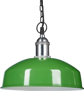 Relaxdays Lampe à suspension en fer avec chaine luminaire de plafond design moderne HxlxP: 142 x 31 x 31 cm, vert