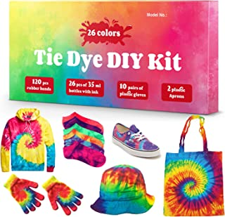 DIY Tie Dye Kits, 26 Colors Fabric Dye Kit for Kids, Adults and Groups, Non-Toxic Tie Dye Supplies for Party, Gathering, Festival, User-Friendly, Add Water Only Perfect Thanksgiving Christmas Gift