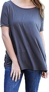 Women's Short Sleeve Top-Dark Grey-small