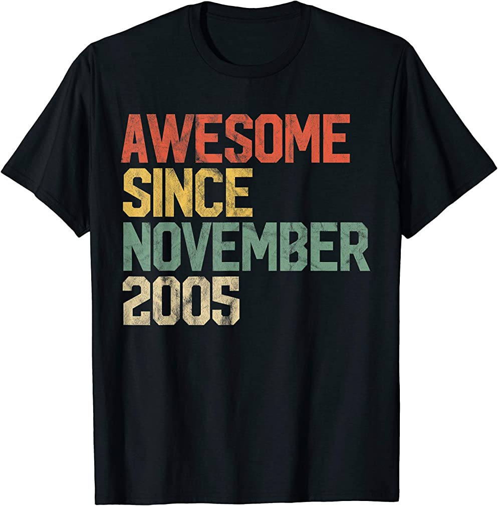 Awesome Since November 2005 14th Birthday Gift 14 Year Old T-shirt