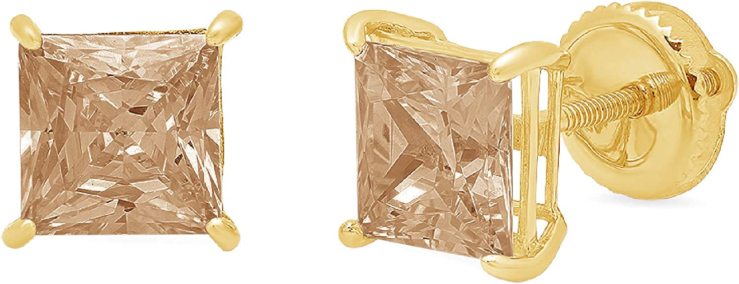 3.0 ct Princess Cut ideal VVS1 Conflict Free Gemstone Solitaire Brown Champagne CZ Designer Stud Earrings Solid 14k Yellow Gold Screw Back