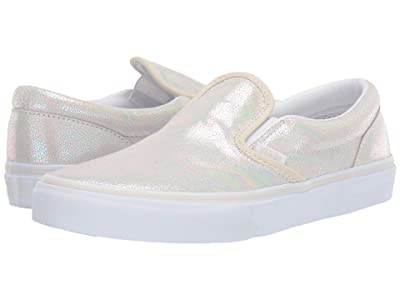 Vans Kids Classic Slip-On (Little Kid/Big Kid) ((Metallic Oil Slick) True White/Turtledove) Girls Shoes